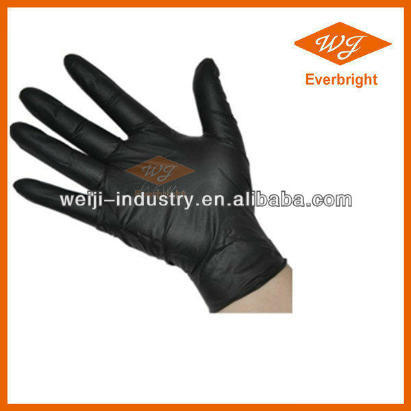 Supply High-quality Black Disposable Nitrile Glove For Examination Medical Grade Or Industry Grade