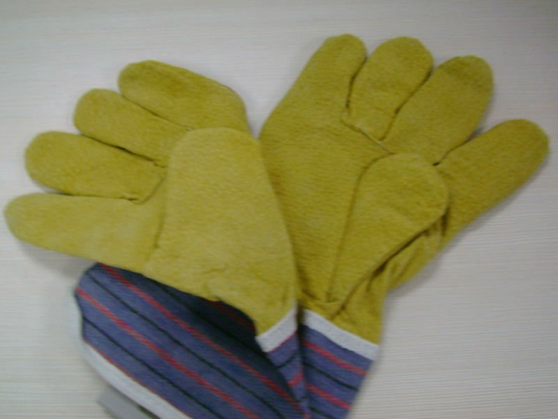 CE Aprroved Leather Colored Safety Working PU Coated Glove